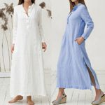 Kaftan Cotton Long Sleeve Plain Casaul Oversized Dresses