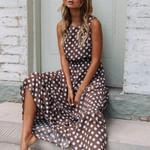 Fashion Dot Printing Sleeveless O Neck Coffee Casual Dresses