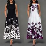 Sleeveless O Neck Floral Print Vestidos Sexy Bodycon Dresses