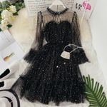 new Star flare sleeve lace-up elegant o-neck mesh puff Dresses