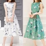 Fashion Elegant A-Line Belt Sleeveless O-Neck Dresses