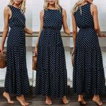 Boho Loose Sleeveless Holiday Dot Print Long Evening Dresses