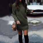 New Fashion Sweatshirt Round Neck Thicken Long Sleeve Dresses