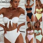 New Knotted Set Swimsuit High Waist Bathing Suit Swimwear Bikini