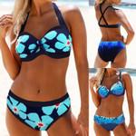 Halter Swimwear Padded Up Cutout Back Floral Swimsuit Backless Bikini