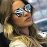Luxury Coating Mirror Female Retro Rimless Metal Eyewear Sunglasses