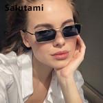 Square Alloy Metal Small Frame Clear Double Bridge Sunglasses