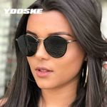 Brand Round Vintage Rimless Shades Coating Mirror Eyewear Sunglasses