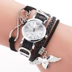 Luxury Silver Heart Pendant Leather Belt Quartz Clock Watches