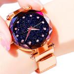 Diamond Luxury Starry Sky Rose Gold Magnet Mesh Watches
