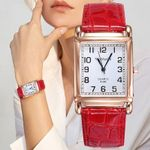 Square Rose Gold Wrist Red Leather Fashion Watches