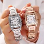 Fashion Rhinestone Square Dial Quartz Wristwatch Watches