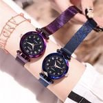 Fashion Starry Sky Flat Glass Quartz Mesh With Magnetic Watches