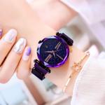 Elegant Purple Starry Sky Fashion Lady Quartz Clock Watches