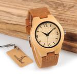 Luxury Wristwatches Handmade With Genuine Leather Wood Watch