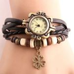 Vintage Four-leaf clover Pendant Imitation Leather Wood Watch