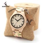 Rose Flower Print Maple Quartz Wrist bamboo Wood Watch