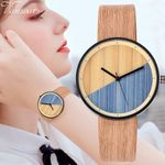 Fashion Luxury Imitation Leather Quartz Wood Watch