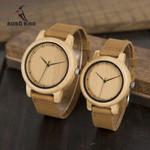 Relogio Feminino Bamboo Leather Band Handmade Quartz Wood Watch