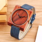 Elegant Minimalist Analog Quartz Wrist Genuine Leather Wood Watch