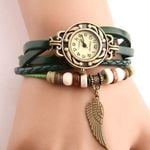 Vintage Imitation Leather Beads Wing Sculpture Casual Wood Watch