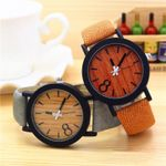 Fashion Luxury Imitation Grain Simple Casual Leather Wood Watch