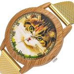 Fashio Nature Grain Leisure Cat Dial Silicone Strap Wood Watch