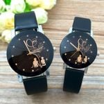 Student Couple Stylish Spire Glass Belt Quartz Wrist Wood Watch