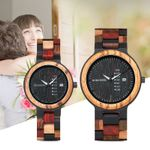 Lover Couple Quartz Week Date Timepiece Colorful Wood Watch