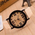 Roman Numerals Leather Band Bracelets Analog Quartz Wood Watch