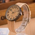 Simple Style Leather Fashion Grain Casual Wrist Wood Watch