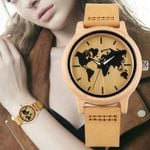 Leather Strap Maple World Map Pattern Dial Wristwatch Wood Watch