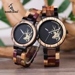 Couple Quartz Wrist Elk Deer Quartz Wrist Wood Watch