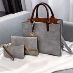Bag Set Fashion PU Leather Handbag Solid Color Shoulder Handbags