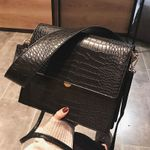 Fashion Crocodile Shouder Designer Brand Wide Strap Handbags