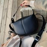 Solid Color PU Leather Saddle Small Shoulder Messenger Handbags