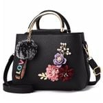 Leather Shoulder Tote Flowers Shell Rivets Fur Ball Pendant Handbags