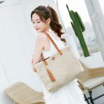 Fashion Large Capacity Soft Casual Beach Straw Tote Handbags