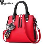 Messenger Fur Ball Crossbody Flap Shoulder Solid Handbags