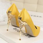 Metal Carved Pumps Sexy Pointed Toe Fashion Candy Heels