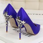 Elegant Metal Carved High Quality Fashion Sexy Silk High Heels