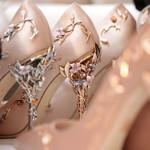 Luxury Brand Pumps Pointed Toe Flower Elegant Silk Brand Heels