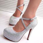 Crystal pumps platform bride red silver Heels
