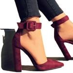 Fashion Zapatos Mujer Pointed Toe Pumps Ankle Strap Heels