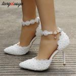 Ankle strap rhinestone lace flowers high stiletto pumps Heels