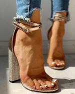 Sexy Pumps Gold Rhinestone Classic Plus Heels