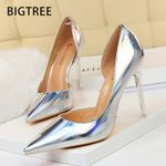Pumps Sexy Stiletto Wedding Shoes Silver Party Heels