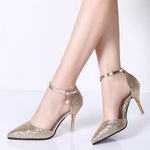 Elegant shinning glitter gold silver pumps pointed Heels