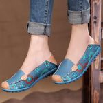 Sneakers flower printed casual slip-on breathable genuine leather Flat shoes