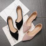 Pink Black Pure Color Plus Small Leather Pointed Toe Office Flat shoes